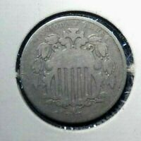 1869 SHIELD NICKEL 5  NICE COIN