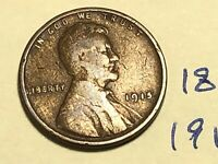 1915 1C BN LINCOLN CENT WHEAT CENT 1862K