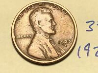 1925-S 1C BN LINCOLN CENT WHEAT CENT 3520K
