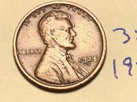 1925-S 1C BN LINCOLN CENT WHEAT CENT 3519K