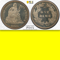 1875 PCGS PR64 CAMEO 700 MINTED  POP. 2  LOVELY PROOF SEATED LIBERTY DIME 10C