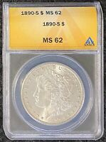 1890-S $1 MORGAN SILVER DOLLAR ANACS SLAB MINT STATE 62