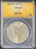 1926-S 1 PEACE DOLLAR ANACS SLAB MINT STATE 63