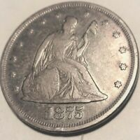 COIN TWENTY CENTS 1875 PHILA MINT SILVER COIN. I SHIP US ONL