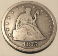 COIN TWENTY CENTS 1875 S SAN FRANCISCO MINT SILVER COIN. I S
