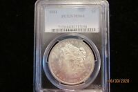 1881-P MORGAN SILVER DOLLAR  PCGS MINT STATE 64 - FROSTY BETTER DATE MORGAN