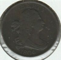 1806 SMALL 6 NO STEMS FINE F DRAPED BUST US HALF CENT 1/2C
