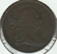 1806 SMALL 6 NO STEMS  FINE VF DRAPED BUST US HALF CENT 1/2C