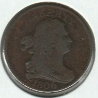 1806 LARGE 6 STEMS  GOOD VG DRAPED BUST US HALF CENT 1/2C