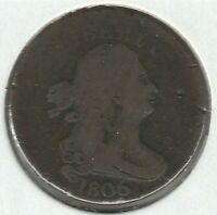 1806 LARGE 6 STEMS ABOUT GOOD AG DRAPED BUST US HALF CENT 1/2C