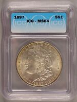 1897 MORGAN DOLLAR SILVER $1 CHOICE BRILLIANT UNCIRCULATED MINT STATE ICG MINT STATE 64