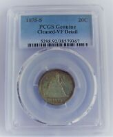 1875 S TWENTY CENT PIECE  PCGS GENUINE  CLEANED   VF DETAIL