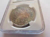 1887 MORGAN SILVER DOLLAR NGC MINT STATE 64 SPECTACULAR MOTTLED OBVERSE TONING $1 COIN