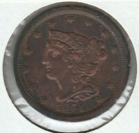 1851 EXTRA FINE EXTRA FINE  BRAIDED HAIR US HALF CENT 1/2C