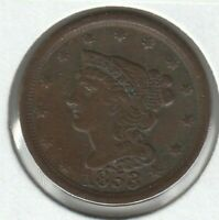 1853 EXTRA FINE EXTRA FINE  BRAIDED HAIR US HALF CENT 1/2C
