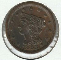1853 ALMOST AU BRAIDED HAIR US HALF CENT 1/2C