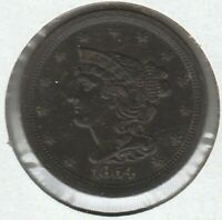 1854 EXTRA FINE EXTRA FINE  BRAIDED HAIR US HALF CENT 1/2C