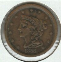1856 EXTRA FINE EXTRA FINE  BRAIDED HAIR US HALF CENT 1/2C