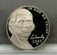 2020-W 5C JEFFERSON NICKEL PROOF WEST POINT MINT  NO ENVELOPE COIN ONLY CAMEO