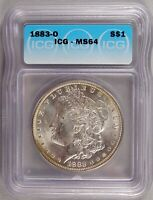 1883-O MORGAN DOLLAR SILVER $1 CHOICE BRILLIANT UNCIRCULATED MINT STATE ICG MINT STATE 64