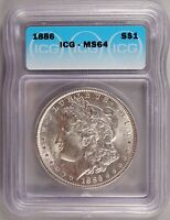 1886 MORGAN DOLLAR SILVER $1 CHOICE BRILLIANT UNCIRCULATED MINT STATE ICG MINT STATE 64