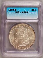 1904-O MORGAN DOLLAR SILVER $1 CHOICE BRILLIANT UNCIRCULATED MINT STATE ICG MINT STATE 64