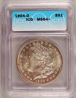 1904-O MORGAN DOLLAR SILVER CHOICE BRILLIANT UNCIRCULATED MINT STATE ICG MINT STATE 64