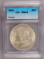 1921 MORGAN DOLLAR SILVER $1 CHOICE BRILLIANT UNCIRCULATED MINT STATE ICG MINT STATE 64