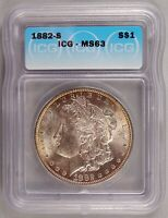 1882-S MORGAN DOLLAR SILVER $1 CHOICE BRILLIANT UNCIRCULATED MINT STATE ICG MINT STATE 63