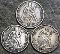 1887 1890 1891 SEATED LIBERTY DIMES ---- TYPE COINS LOT ---- B520