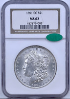 1891 CC MORGAN SILVER DOLLAR $1 NGC MINT STATE 62 CAC VERIFIED SILVER FOX COLLECTION