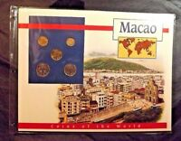 5 MACAO COINS OF THE WORLD POSTAL COMMEMORATIVE SOCIETY 1992-93