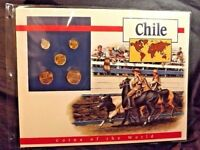 5 CHILE COINS OF THE WORLD POSTAL COMMEMORATIVE SOCIETY 1992-93