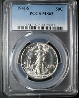 1941-S WALKING LIBERTY HALF 50C MINT STATE 63 PCGS