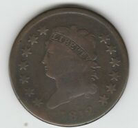 1812 SMALL DATE GOOD G CLASSIC HEAD US LARGE CENT 1C
