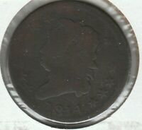 1814 PLAIN 4 GOOD G CLASSIC HEAD US LARGE CENT 1C