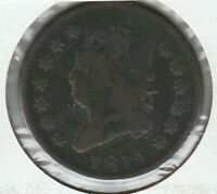1814 PLAIN 4  GOOD VG CLASSIC HEAD US LARGE CENT 1C