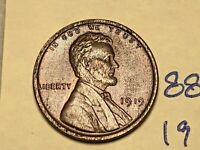 1919 1C BN LINCOLN CENT 8809W WHEAT CENT EF - CHOICE