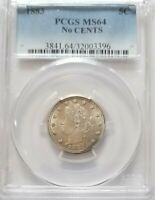 1883 5C LIBERTY NICKEL PCGS MINT STATE 64 NO CENTS