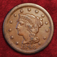 1848 BRAIDED HAIR LARGE CENT BN, HIGHER GRADE EXTRA FINE
