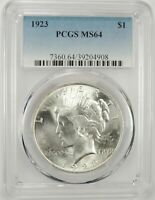 1923-P $1 PEACE SILVER DOLLAR PCGS MINT STATE 64 39204908 BU WITH GREAT EYE APPEAL