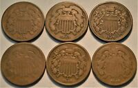 LOT OF  6  TWO CENT PIECES 1864 1865 HIGHER GRADE 1866 1868