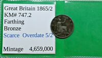 OLD BRITISH VICTORIA 1/4 PENNY FARTHING COIN 1865/2 OVERDATE