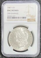 TOUGH DATE 1887-S $1 MORGAN SILVER DOLLAR UNC DETAILS NGC FULL LUSTER DETAIL