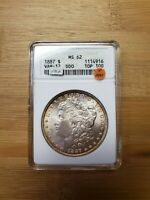 1887 SILVER MORGAN DOLLAR - ANACS MINT STATE 62 VAM-12 DDO TOP 100