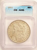 1891 MORGAN DOLLAR SILVER $1 ALMOST UNCIRCULATED ICG AU53