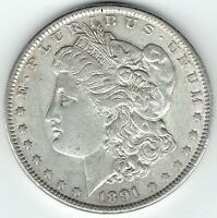 1891-P $1 MORGAN SILVER DOLLAR AU