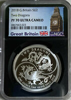 2018 GREAT BRITAIN TWO DRAGONS 1OZ SILVER GBP2  NGC PF70UC