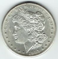 1887-S $1 MORGAN SILVER DOLLAR  AU WITH SOME PL SURFACE