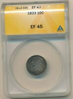1833 CAPPED BUST SILVER DIME-BEAUTIFUL DIME ANACS GRADED EF45-SHIPS FREE